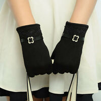 Chic Vintage Womens Screen Winter Warm Weaved Knit Wrist-Gloves Mittens Zccj