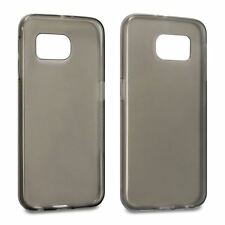 Hybrid Slim Fitted Rubber Gel Skin Case Cover for Samsung Galaxy S6 Smoke Black