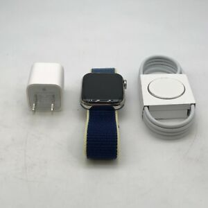 Apple Watch Series 5 Cellular Silver Stainless Steel 40mm w/ Blue Loop Good Cond