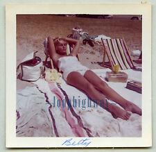 "Pretty Leggy Woman ""Betty"" Sunbathes, Closed Eyes - Vtg Old PHOTO, Bathing Suit"