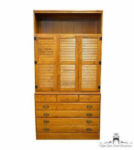 """ETHAN ALLEN Heirloom Nutmeg Maple CRP 40"""" Shutter Door Cabinet w. Bookcase Ca..."""