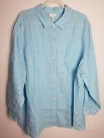 J Jill Love Linen Button Front Shirt 3XL Womens Plus Long Sleeve EUC
