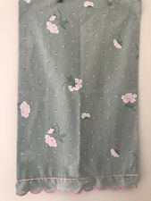 PAIR! Vtg JP Stevens PILLOWCASES Floral Minty Green Percale Cottage Scalloped