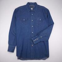 WRANGLER Pearl Snap WESTERN Shirt Long Sleeve Dark Wash Denim Mens 2XL