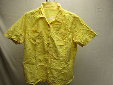 Vintage Yellow Flowered Design Yellow M Medium Shirt Short Sleeve Button-Front