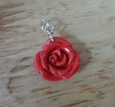 1 Sterling Silver & Red Resin Rose 16mm diameter Charm