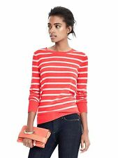 NEW BANANA REPUBLIC Womens Merino Wool Stripe Coral White Crewneck Sweater S 4 6