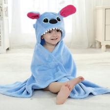 Baby blue soft Flannel Hooded Towel Wrap Bathrobe Poncho Bath time Unisex Gift