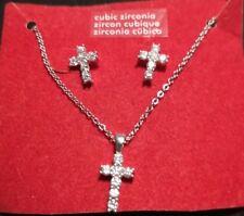 Claire's Silvertone Earrings Crosses Chain Cross Pendant Cubic Zirconia