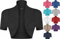 New Plus Size Womens Plain Short Sleeve Ladies Shrug Bolero Cardigan Top 16-26