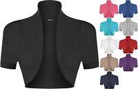 New Plus Size Womens Plain Short Sleeve Ladies Shrug Bolero Cardigan Top 16-26