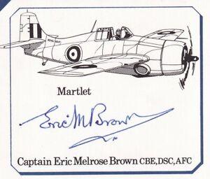 Piece Signed by Capt E.M.Brown WW11 Pilot, Test Pilot  Photo ,Details