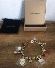 Dolce & Gabbana D&G Charm Bracelet Signed Designer Gold Jewelry Hearts Roses Neq