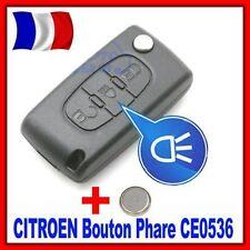 Coque PLIP Télécommande Clé CITROEN C1/C2/C3/C4/C5 Bouton Phare CE0536 +Pile