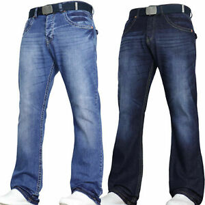 Mens STRETCH  Bootcut Jeans Wide Leg Pants Wide Leg Flared Bell Bottom Denim