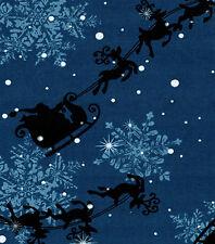 SANTA & REINDEER ON MIDNIGHT BLUE BACKGROUND CHRISTMAS VALANCE