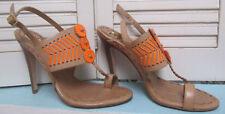 TORY BURCH High Heel Tan Leather Neon Orange Accents Toe Loop Buckle Strap 8