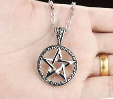 Gothic Men Stainless Steel pentagram Round Satan worship Charms Pendant Necklace