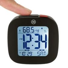 Marathon Cl030058Bk Small Compact Alarm Clock with Repeating Snooze, Light, Date