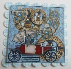 PACK 2 STEAMPUNK RETIREMENT EMBELLISHMENT TOPPERS FOR CARDS AND CRAFTS