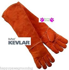 "Pair Long 23"" Gauntlet Leather Kevlar Dog Cat Bird Ferret Animal Handling Gloves"