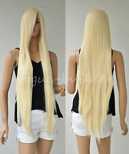 40 inch 100 cm Blonde Heat resistant Straight Cosplay Hair Wig Free shipping