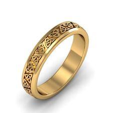 Ladies 14k Gold Irish Handcrafted Celtic Trinity knot Design Wedding Ring 4mm