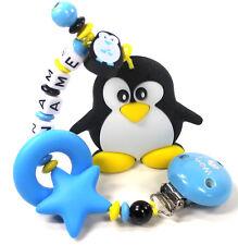Beisskette Pinguin mit Namen Silikon Zahnungshilfe Junge Mädchen blau gelb