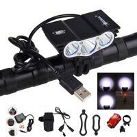 SolarStorm 15000LM 3x XML T6 LED USB Cycling Lamp Bicycle Bike Headlight Battery