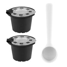 2pcs Silver Refillable Reusable Coffee Capsule Filter With Spoon For Nespresso