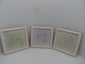 KidsLine Gossamer Wings pastel butterfly, snail, ladybug 3 wall pictures 12x12