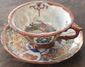 Japanese KUTANI Dragon ware porcelain Teacup And Saucer
