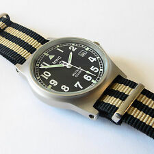 MWC G10 LM Military Watch Black/Beige Strap, Date, 50m Water Resistance NEW