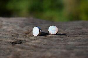925 STERLING SILVER WHITE OPAL GEMSTONE STUD EARRINGS TRIPLE COLOUR 8mm