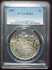 1887 PCGS MS-63 *SILVER* Morgan Dollar Gorgeous NEON ELECTRIC RAINBOW Toning