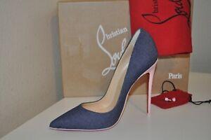 Christian Louboutin So Kate Pointy Toe 120 Pump Shoe Denim Blue Pompadour 36-5.5