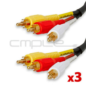 3pcs Video 3 RCA Composite Video Audio A/V AV Cable GOLD 3 FT Lot Pack