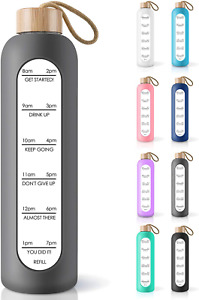32 Oz Borosilicate Glass Water Bottle With Time Marker Reminder Quotes,