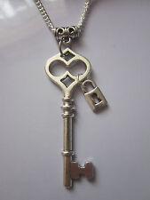 Antik silber Steckschloss Anhänger charme Halskette Steampunk/Vintage/Gothic