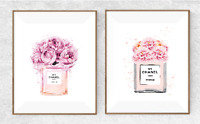 Set Of 2 Rose Pink Perfume - A4 - Quote Home Decor Wall Art Designer Fashion