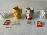 STAR WARS SIGMA MUGS X2 LUKE X WING PILOT C3PO CERAMIC HAND PAINTED VINTAGE ROTJ