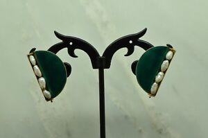 VERMEIL 925 STERLING SILVER GREEN ENAMEL & WHITE PEARLS POST EARRINGS #X22034