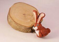 Brown Hare Broach Pin Badge Rabbit Animal Accessories Handmade Animals Fimo Cute