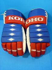 Vintage KOHO 6000 14-1/2'' Blue Red & White Hockey Gloves Leather Palms