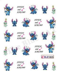 Nail Art Water Decals Stickers Transfers Stitch & Scrump Disney Gel Polish