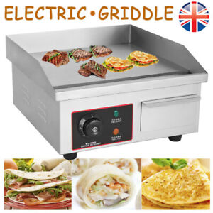 Electric Griddle Hotplate Flat Chip Grill Bacon BBQ Fryer Commercial 1500W UK