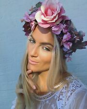 Pink Wild Flower Sweet Pea Eucalyptus Rose Crown Hair Head Band Boho Bridal