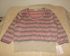 Villager Size XL Pullover Beige Pink Blue Striped Print Sweater, 3/4 slv - NWT