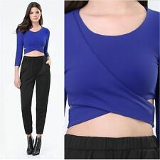 BEBE BLUE DOUBLE WRAP 3/4 SLEEVE CROPPED CROP TOP NEW NWT LARGE L