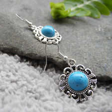 Antique Silver Flower Turquoise/Black Half Ball Drop/Dangle Earring Girl Gift